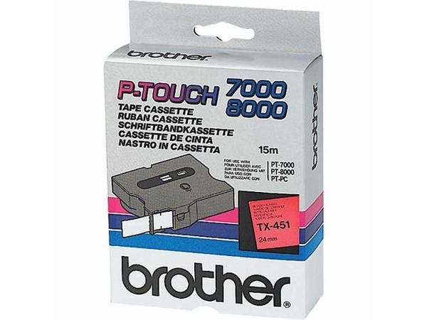 Brother TX - Laminiertes Band - schwarz auf rot - Rolle (2,4 cm) 1 Rolle(n) - für P-Touch PT-30, PT-7000, PT-8000, PT-PC