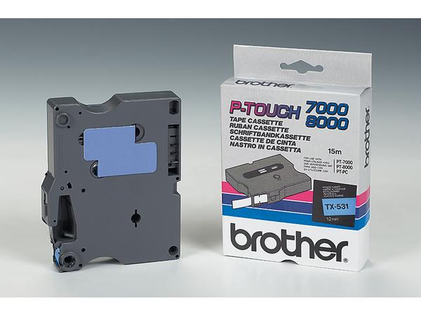 Brother TX-531 / Farbband / blau / schwarz / 15m / f. P-touch 8e, 500 / II / 2000 / 3000 und 5000