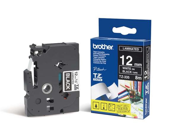 Brother TX - Weiß auf Schwarz - Rolle (1,2 cm) 1 Rolle(n) laminiertes Band - für P-Touch PT-30, PT-7000, PT-8000, PT-PC