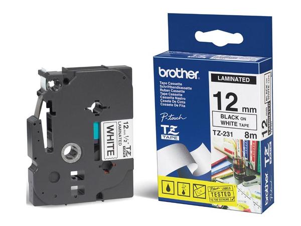 Brother - Schwarz, weiß - Rolle (1,2 cm x 15,2 m) 1 Rolle(n) laminiertes Band - für P-Touch PT-7000, PT-8000, PT-PC