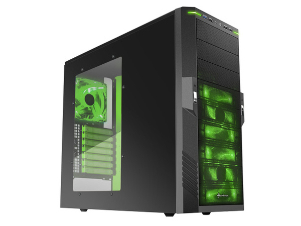 Sharkoon T9 Value - Midi Tower - ATX - ohne Netzteil - Schwarz, Giftgrün - USB/Audio