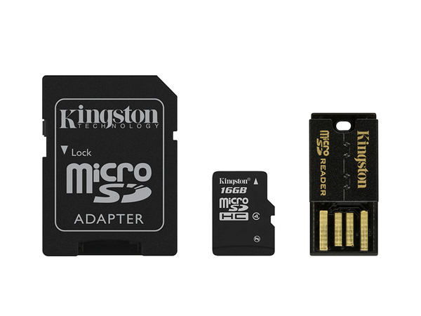 Kingston Multi-Kit / Mobility Kit - Flash-Speicherkarte (microSDHC/SD-Adapter inbegriffen) - 16 GB - Class 4 - microSDHC - mit USB Reader