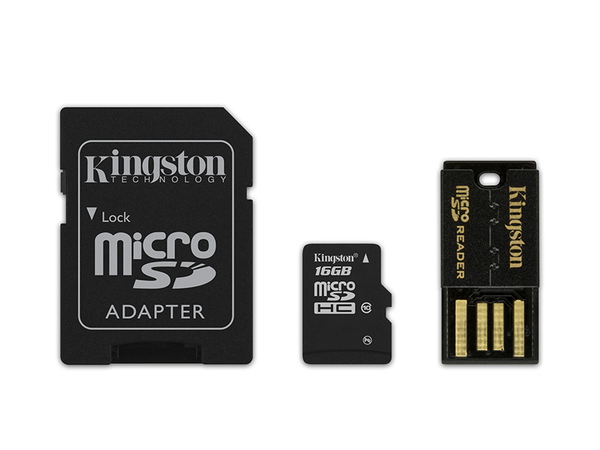 Kingston Multi-Kit / Mobility Kit - Flash-Speicherkarte (microSDHC/SD-Adapter inbegriffen) - 16 GB - Class 10 - microSDHC - mit USB Reader