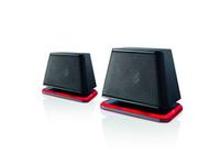 Fujitsu Soundsystem DS E2000 Air - Lautsprecher - für PC - 2.4 Watt (Gesamt) - Schwarz, Crimson Red - für ESPRIMO D556, D757, D757/E94, D956, D957, D957/E94, P556, P956/E94, P957, Q520, Q956,