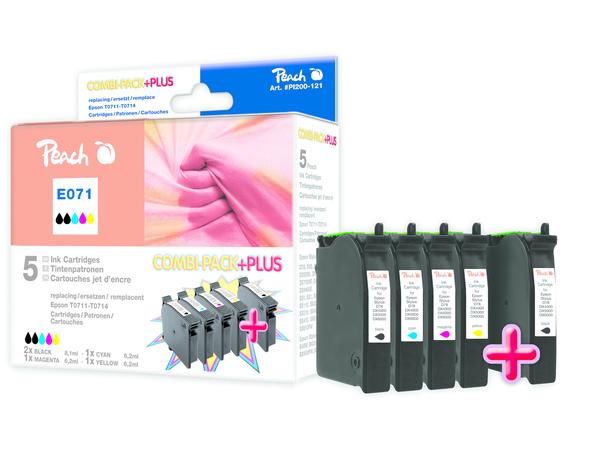 Peach Spar Pack Plus - 5er-Pack - Schwarz, Gelb, Cyan, Magenta - Tintenpatrone (Alternative zu: Epson T0711, Epson T0712, Epson T0713, Epson T0714) - für Epson Stylus DX9400, SX115, SX215, SX2