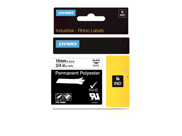 DYMO 19mm RHINO Permanent Polyester, D1, Polyester, Box, 5,5 m, 34 mm, 87 mm
