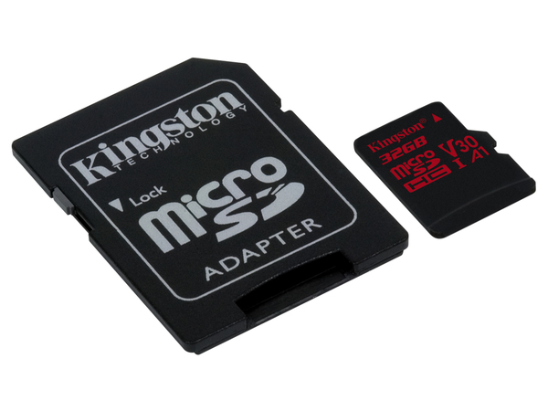 Kingston Technology Canvas React, 32 GB, MicroSDHC, Klasse 10, UHS-I, 100 MB/s, Schwarz, Rot