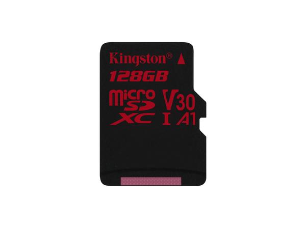 Kingston Technology Canvas React, 128 GB, MicroSDXC, Klasse 10, UHS-I, 100 MB/s, Schwarz, Rot