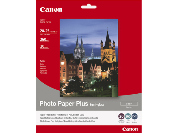 Canon Photo Paper Plus SG-201 - Halbglänzend - 203 x 254 mm - 260 g/m² - 20 Blatt Fotopapier - für PIXMA iP3300, iP4300, iP5300, MP180, MP490, MP510, MP550, MP560, MP600, MP810, MX330
