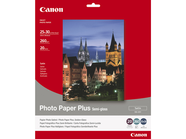 Canon Photo Paper Plus SG-201 - Halbglänzend - 254 x 305 mm - 260 g/m² - 20 Blatt Fotopapier - für PIXMA IP4000, iP4300, iP5200, iP5300, iP6210D, iP6310D, iP6700D, iX4000, iX5000, Pro9000